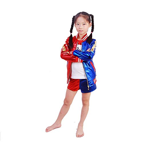 J-J DECO 5PCS Kids Girls Halloween Costume (Jacket + T- Shirt + Square Shorts+ 1Glove+Fishnets (L=130cm(8-10years))