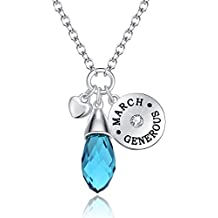 """Love of Crystal"" Created 12 Months Birthstone Necklace Water Drop Pendant Best Gifts For Christmas"