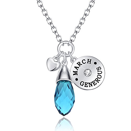 Simulated Aquamarine Birthstone Necklace Teardrop Pendant for Women Elements Crystal March Valentine's Day Jewelry Gifts for Women Birthday Gifts for Wife Girlfriend Anniversary Gifts for (March Birthstone)