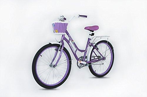 Princess Meisjes fiets- paars 20 inch wiel Fiets met mand – Geschikt voor AGE 5-12 JAAR OL D- Hoogte 3′ 10″ – 4′ 6″