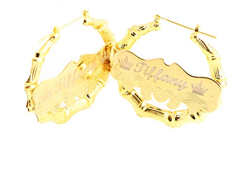 Custom Personalized Gold plated Hoop Name Bamboo Earrings 2.0'' Custom Made with Any Names by Tina&Co (Image #2)