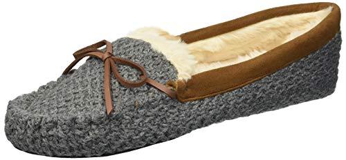 Dearfoams Women's Mixed Material Moccasin Slipper, Dark Heather Gray, S Regular US