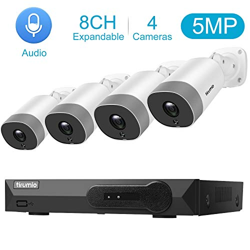 PoE Security Camera System,TIRUMIO 8CH 5MP(2.5x1080P) Wired Home Surveillance PoE NVR System with 4pcs 5MP Super HD Outdoor Cameras,IP67 Weatherproof,100ft Night Vision,Motion Detect,No Hard Drive