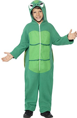 Smiffy's Children's Unisex All In One Turtle Costume, Jumpsuit with Hood & EVA Shell, Party Animals, Ages 4-6, Size: Small, Color: Green, (Turtle Costumes For Kids)