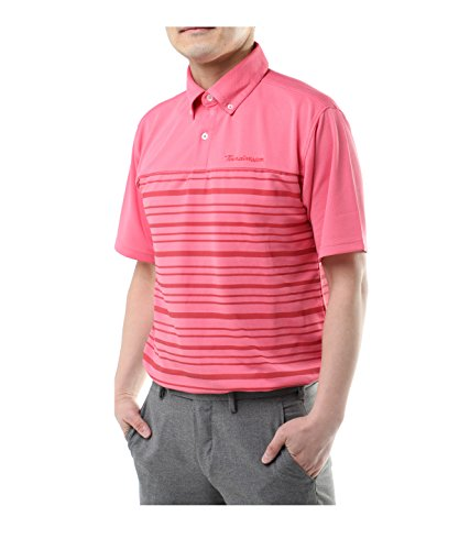 ツアーディビジョン メンズ ゴルフウェア ポロシャツ 半袖 胸切替ボーダー TD220101H01 RD L