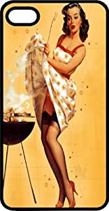 Hot Pin Up Girl Grilling Some Burgers Black Rubber Case for Apple iPhone 6 Plus