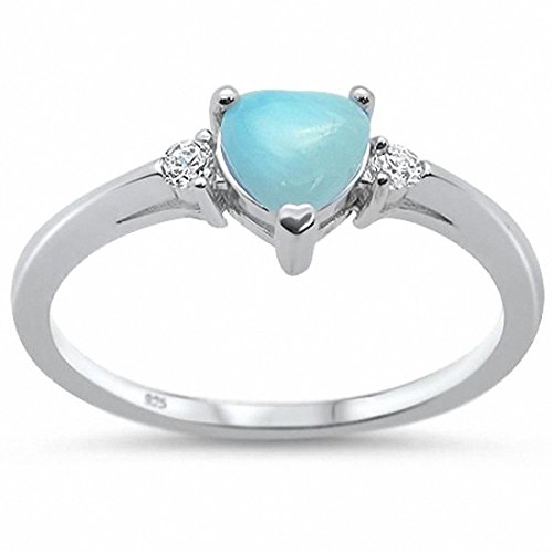 ng Engagement Heart Simulated Larimar Promise Ring CZ 925 Sterling Silver, Size-8 ()