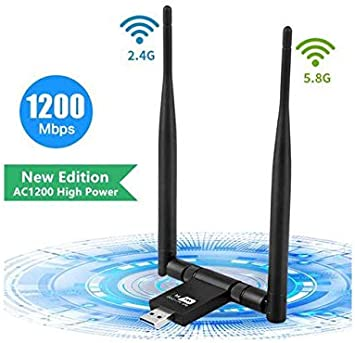 Wireless USB WiFi Adapter 1200Mbps Dual Band 2.4Ghz//300Mbps 5Ghz//867Mbps High Gain Dual 5Dbi Antennas Network WiFi USB 3.0 for Desktop//Laptop
