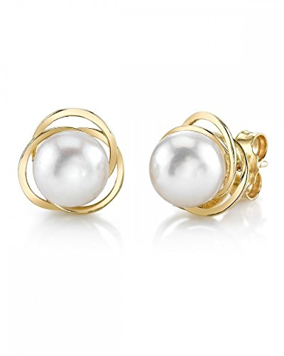 THE PEARL SOURCE 14K Gold 8.5-9mm AAA Quality Round Genuine White Akoya Cultured Pearl Lexi Earrings for Women ()