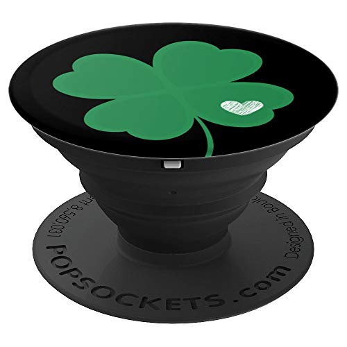 Irish Shamrock Green Clover Heart St. Patrick's Day Black - PopSockets Grip and Stand for Phones and Tablets