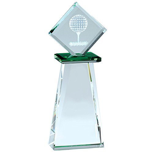 Awards and Gifts R Us Customizable 8-1/2 x 3-1/4 Inch Optical Crystal Golf Tower Trophy, Includes Personalization ()