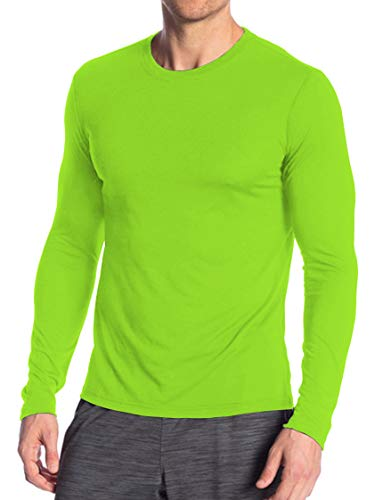 Miracle(Tm) Neon Underscrub High Visibility Undershirts - Adult Wicking Mens Sports Long Sleeves Green T Shirt (M)