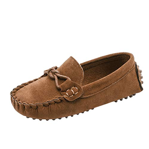 ❤️Ywoow❤️, Children Boys Girls Loafers Solid Color Soft Bottom Breathable Casual Shoes Brown