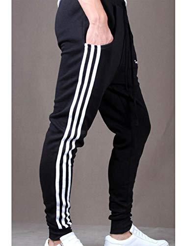 Pantaloni Da Fit Jogging Slim Esterno Sporthose Elastici Con Abbigliamento Nero Uomo aarfdq