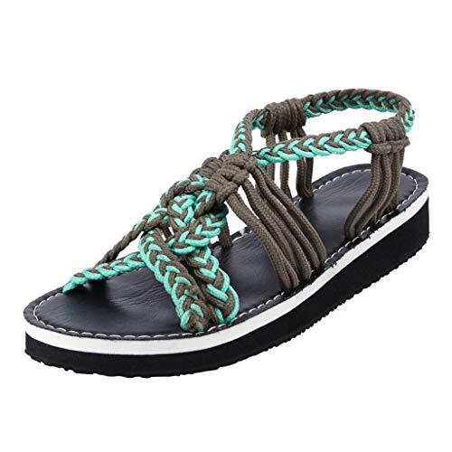 Duseedik Women's Hemp Rope Sandals Summer Flip Flops Fashion Roman Beach Outdoor Shoes Slippers