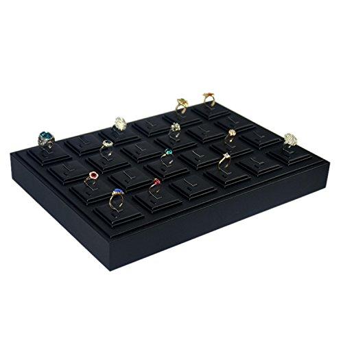 Zwart PU Kunstleer Sieraden Display Lade Voor Ringen Organizer Opslag Houder Case Box