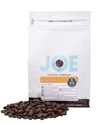 - Joe Coffee 'Nightcap' House Decaf Blend, Decaffeinated Whole Bean, Chemical-free Swiss Water decaffeination process, 12 oz Bag, Perfect for Drip, Espr