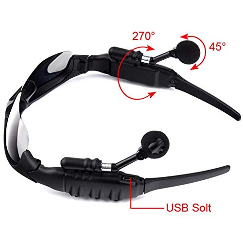WISREMT Wireless Bluetooth Sunglasses, Foldable Stereo Handfree Headphone Music Sunglasses Headsets for Most Smartphone or PC, USB Charge, Polarized Lenses Can Be Flipped Up