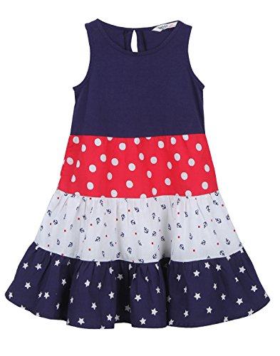 (Beebay Tiered Star & Polka Print Dress Navy (Navy Star & Polka Print, 12-18M))