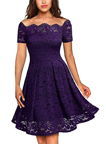 (MISSMAY Women's Vintage Floral Lace Short Sleeve Boat Neck Cocktail Party Swing Dress X-Small Purple)