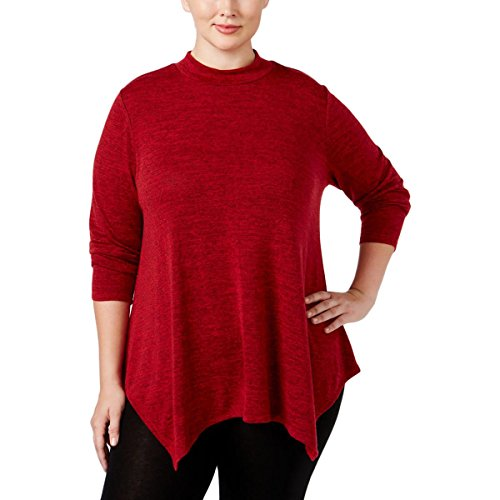Style & Co. Womens Plus Mock-Neck Long Sleeves Tunic Top Red 3X (Spandex Tunic Style & . Co)