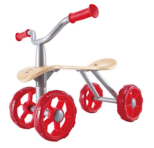 Hape Trail Rider | Award Winning Four Wheeled Scooter, Wooden Push Balance Bike Toy for Kids, Red