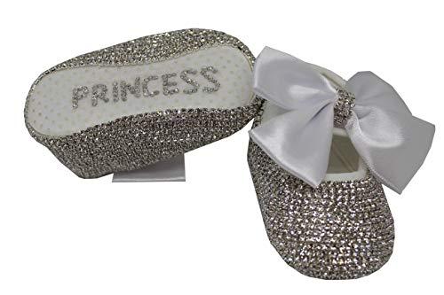 (Mini Plum Baby Girls Personalized Christening Baptism Swarovski Crib Shoes (2) White)
