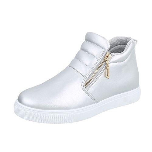 Ital-Design Sneakers High Damenschuhe Reißverschluss Freizeitschuhe Silber  D16-1