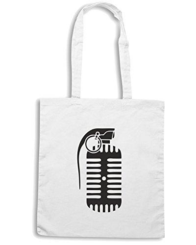 T-Shirtshock - Bolsa para la compra TM0458 microfono bomba Blanco