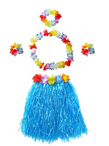 CISMARK Dancer Grass Skirt with Artificial Flower Decor (Blue 40cm,5pcs/Set)