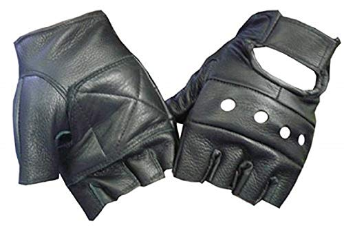 Motorcyle Biker Fingerless Leather Glove (M)