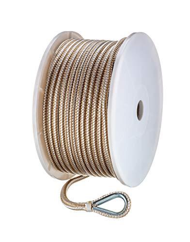 - Seachoice 42341 Double-Braid Nylon Anchor Line - Gold and White - 3/8 Inch x 200 Feet