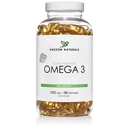 Hudson Naturals Omega 3 Fish Oil With EPA and DHA Essential Fatty Acids, Pure, Maximum Strength 180 Softgels | Lemon Flavor, Burpless With No Fishy Aftertaste, Easy to Swallow, Mercury Free