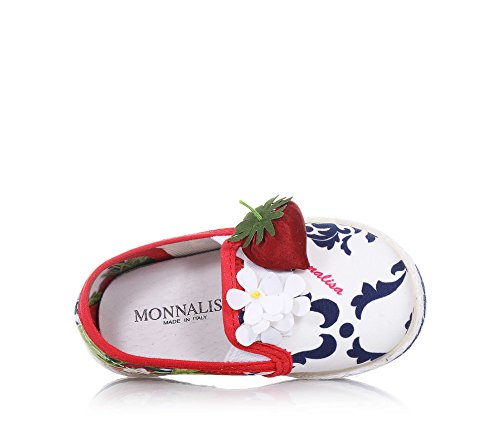 MONNALISA - Slip on multicolore en tissu, made in Italy, romantique et amusante, avec applications florales, Fille, Filles
