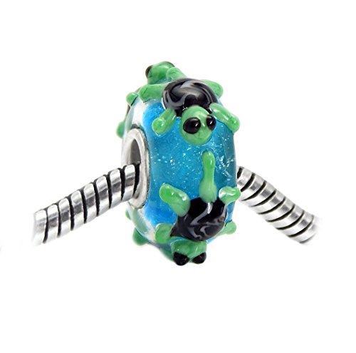 - J&M 3D Handmade Turtles on Blue Murano Glass Charm Bead for Bracelets