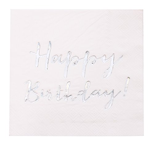Print Cocktail Napkins - Cocktail Napkins - 50-Pack Luncheon Napkins, Disposable Paper Napkins Happy Birthday Party Supplies, 3-Ply, Holographic Foil Print, Unfolded 10 x 10 Inches, Folded 5 x 5 Inches