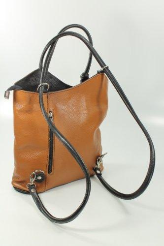 Belli - Bolso mochila  de cuero para mujer marrón marrón
