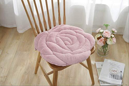 AINIYUE Cojin de Asiento para el hogar, Almohada de Asiento de decoracion de Tatami de Piel de Conejo de imitacion Circular, Alfombra Redonda para Silla de sofa Oficina de Coche 45X45cm Rosa Oscuro