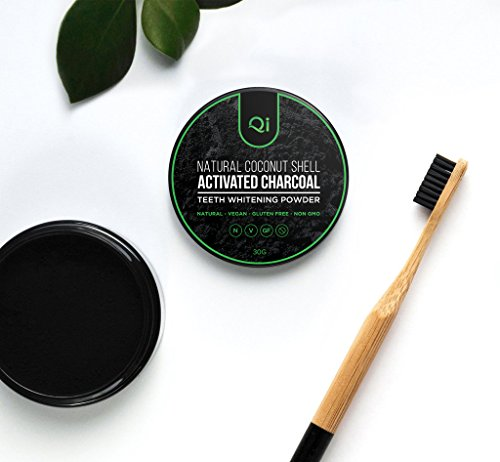 Qi Natural Vegan Mint-Flavored Coconut Shell Activated Charcoal Teeth Whitening Powder, No Fluoride, GMO and Gluten-Free, Removes Stains, Whitens Teeth, Sensitive Tooth Whitener, Gentle on Enamel