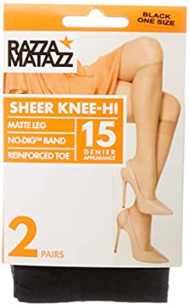 Razzamatazz Women's Pantyhose 15 Denier Value Knee Hi's (2 Pack), Black, One Size Fits All