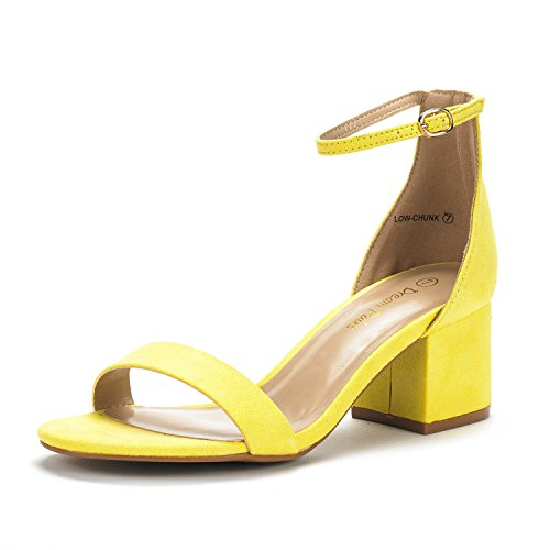 DREAM PAIRS Women's Low-Chunk Yellow Suede Low Heel Pump Sandals - 7.5 M - Pump Shoes Strap Ankle Platform