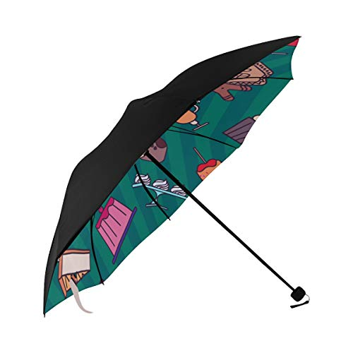 Bread Jam Sweet And Sour Sauce Breakfast Compact Travel Umbrella Sun Parasol Anti Uv Foldable Umbrellas(underside Printing) As Best Present For Women Sun Uv Protection
