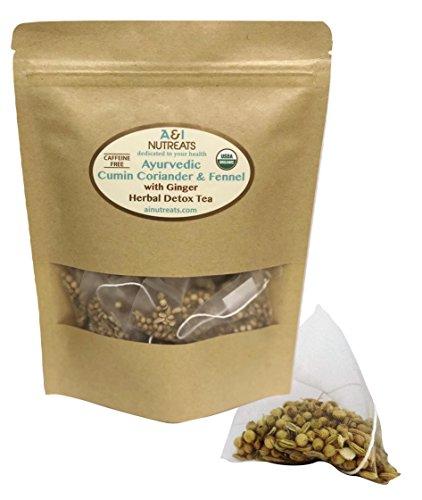 Ayurvedic Cumin, Coriander and Fennel Tea with Ginger – Premium whole leaf pyramid tea sachet bags - USDA Organic, Herbal Detox Tea – Improves digestion, Increases metabolism (28 CCF Ginger Sachet