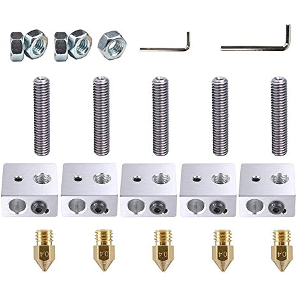 22pcs//Lots 3D Printer Accessories A8/&ampA2 Part Each 5PCS 0.4mm Extruder Nozzle
