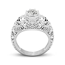 KMG Kimloog Round Diamond Engagement Band Halo CZ Flower Skull Promise Ring8