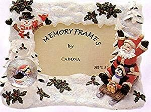 Santa Claus with Penguin & Snowman Decorative Resin Picture Frame with Mini Snow Globe (Picture Frame Penguin)