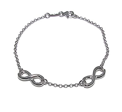 Pure Silver Infinity Bracelet With Two Sterling Silver Infinity