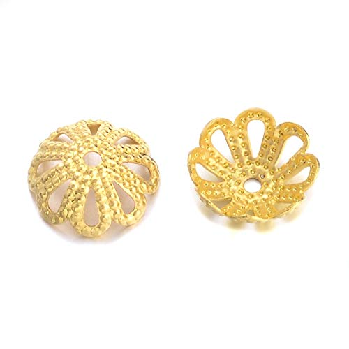 Wholesale Bead Caps - 18k Gold Plated Solid Brass Filigree Flower Bead Caps for Jewelry Making- (8mm)