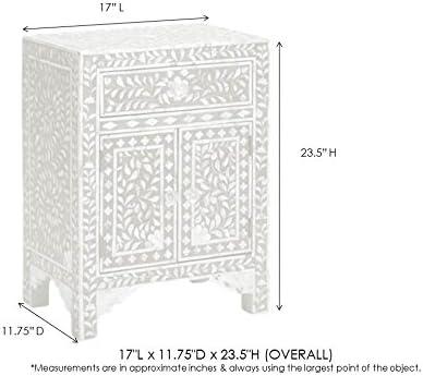 Heathertique Handmade Bone Inlay Furniture – Side Table Floral Pattern Cabinet Grey