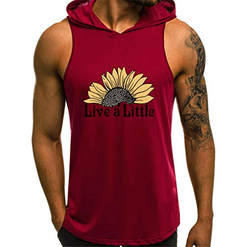 (YAYUMI Men's Summer Fitness Quick-Drying Sports Vest Comfortable Blouse Top Red)